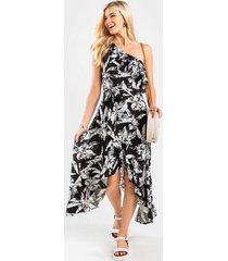 adina tropical one shoulder maxi dress - black