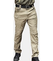 t-shirt tattica multi-tasca per esterni carico pantaloni tinta unita militare pantaloni