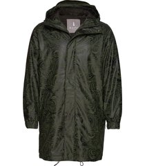 long quilted parka parka jas groen rains