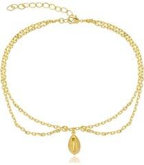 tornozeleira búzios di capri semi jóias x ouro dourado