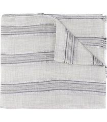 brunello cucinelli striped lightweight scarf - grey