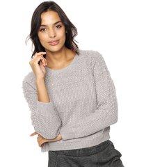 sweater gris moni tricot con perlas
