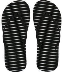 ew sandalias planas negro de la raya blanca 36-negro.