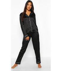satijnen pyjama blouse met knopen en broek, zwart