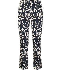 max mara cotton satin trousers summer white/blue