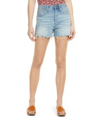 madewell women's relaxed destroyed hem denim shorts, size 25 in rosemount wash at nordstrom