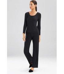 jersey essentials long sleeve top pajamas, women's, black, silk, size m, josie natori