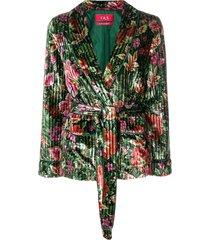 f.r.s for restless sleepers floral velvet blazer - green
