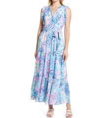 women's lilly pulitzer destini print maxi dress, size 4 - blue