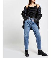 river island womens black sleeveless chain trim bodysuit
