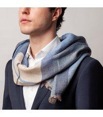 sciarpa da uomo, maalbi, 100% lino quadri azzurra, primavera estate | lanieri