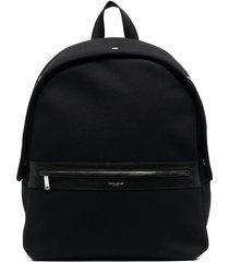 saint laurent camp leather trim backpack - black