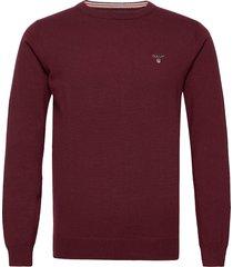 cotton wool crew stickad tröja m. rund krage röd gant