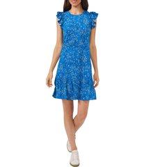 cece sunset blossom flutter sleeve stretch crepe dress, size medium in santorini sky at nordstrom
