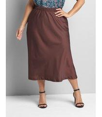 lane bryant women's satin slip skirt 16 dark chocolate