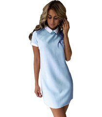 collared mini dress women casual short sleeve office dresses bodycon elegant