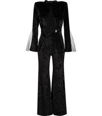 loulou transparent-detailed velvet jumpsuit - black