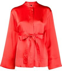 mcq swallow wide sleeves belted silk blouse - red