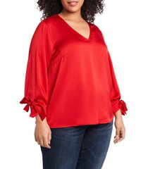 plus size women's cece tie sleeve satin blouse, size 1x - red