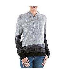 hoodie sweater, 'grey imagination' (peru)