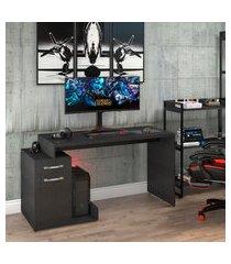 mesa computador gamer trevalla shark com 1 porta preto onix/preto