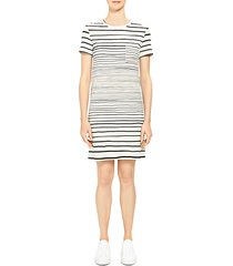 continuous stripe pocket t-shirt dress