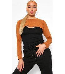 2-in-1 gebreide top & arm warmer, camel