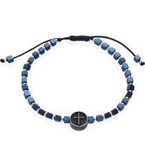 bracciale in corda e acciaio con ciondolo a croce blu per uomo