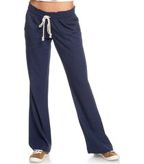 women's roxy oceanside linen blend beach pants, size x-large - blue