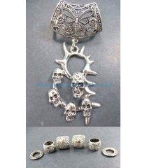 us seller-death skulls pendant slider scarf ring scarf jewelry necklace