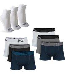 kit com 6 cuecas cotton premium e 3 pares de meias cano médio - polo match masculino - masculino