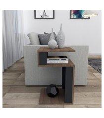 mesa de canto para sala nogueira e preto appunto móveis
