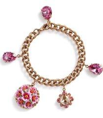 dolce & gabbana floral charm chain bracelet - gold