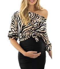 angel maternity tiger stripe one-shoulder maternity top, size x-small in orange at nordstrom