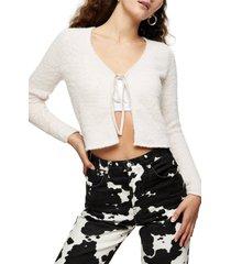 women's topshop tie front crop cardigan, size 14 us - pink