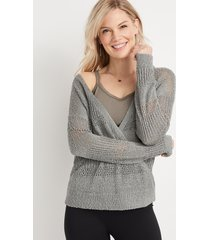 maurices womens wrap front pullover green