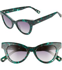 women's lele sadoughi uptown 47mm cat eye sunglasses - emerald/ smokey brown