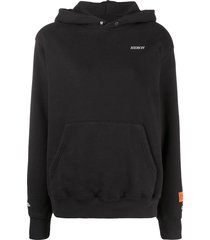 heron preston embroidered logo pouch pocket hoodie - black