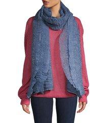 saachi women's textured ruffle-trimmed scarf - blue