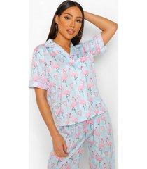 mix & match flamingo kerst pyjama shirt, blue