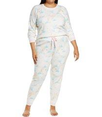 plus size women's pj salvage thermal print pajamas, size 2x - ivory