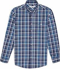 camisa casual manga larga a cuadros regular fit para hombre 93448