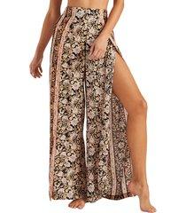 women's billabong split spirit floral print wide leg pants, size x-small - black