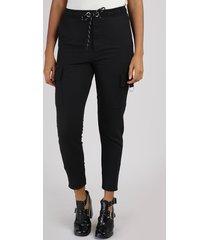 calça de moletom feminina cargo cintura média com argola e cordão preta
