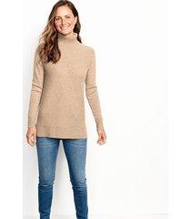 cashmere mixed stitch tunic sweater