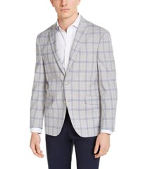 kenneth cole reaction men's slim-fit stretch light gray & navy plaid sport coat, created for macy's