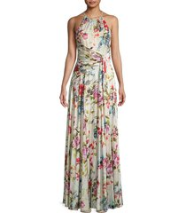theia women's floral charmeuse gown - coral multi - size 6