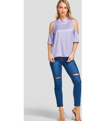 yoins purple cold shoulder half sleeves blouse