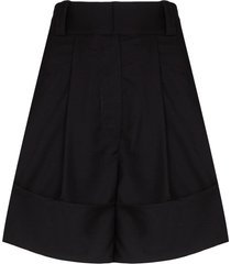 low classic fold-over wool shorts - blue