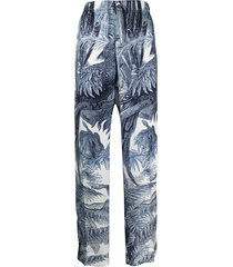 f.r.s for restless sleepers high-waisted jungle print trousers - blue